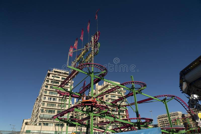 GENOA, ITALY - DECEMBER, 9 2018 - Traditional Christmas Luna Park Fun Fair is opened royalty free stock photography