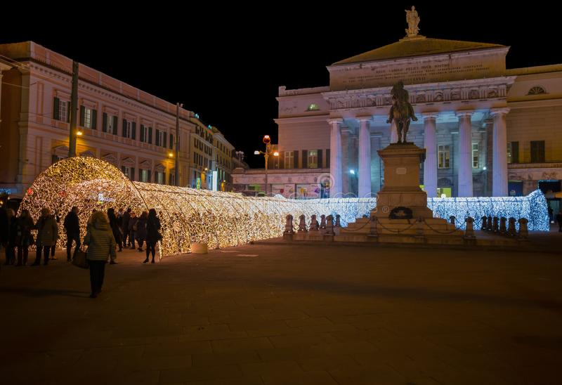The tunnel of lights in De Ferrari Square of Genoa, Italy stock images
