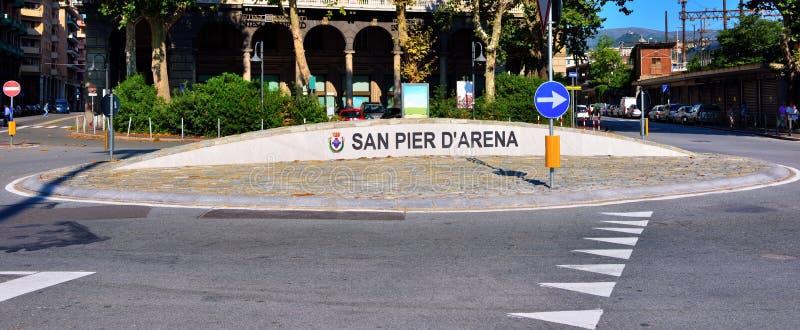 Genoa Italy Delegation av San arena för pir D ' arkivbilder