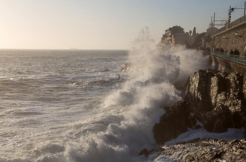 Rough sea in Genoa Nervi,  ligurian coast, Italy stock image
