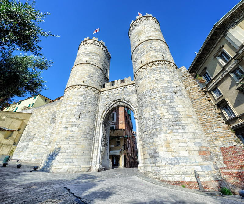 Genoa, Italy. Gate through the medieval city walls in Genoa, Italy royalty free stock images