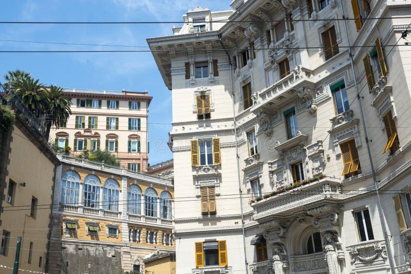 Genoa (italy). Genoa (Genova, Liguria, Italy): facades of historic buildings stock images