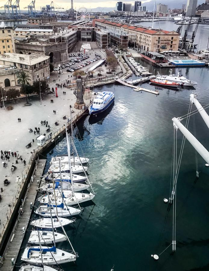 Genoa, Italy_ Harbor Aerial View stock image