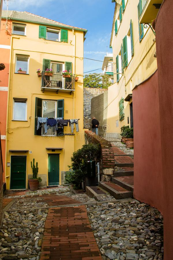 Houses in a sea side neighborhood in Genoa, Italy. royalty free stock photo