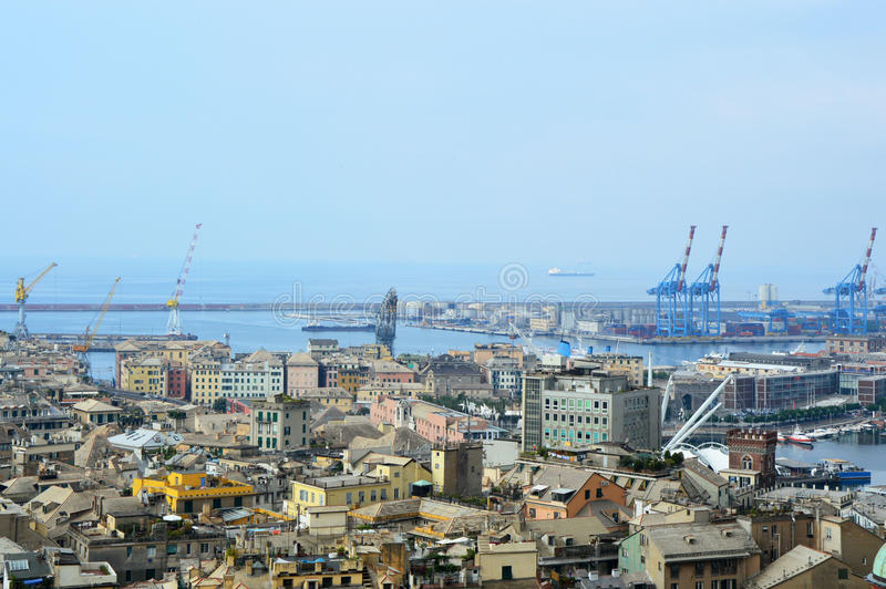 GENOA, ITALY - JUNE 15, 2017: Panoramic view of Genoa city from Spianata Castelletto Belvedere Montaldo, Genoa, Italy royalty free stock photo
