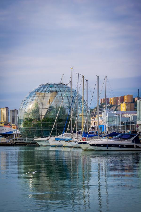 Genoa harbor with the biosphere by Renzo Piano. stock photo