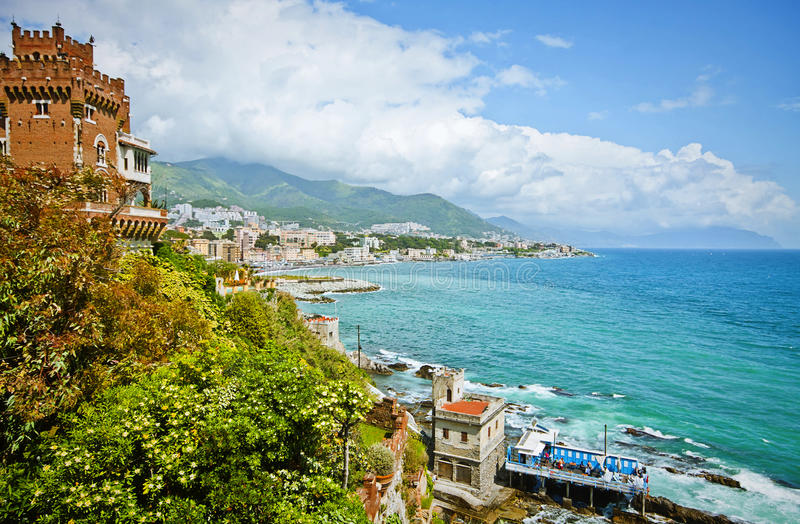 Genoa, Italy - panoramic view of city coastline on the Tigullio royalty free stock photography