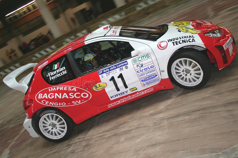 Genoa Italy - A Peugeot 206 racing car during the first time trial of the 24th Rally Della Lanterna. On March 15th, 2008. The event was held in the Genoa Fiera` stock photos