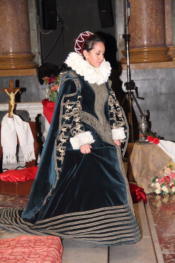 Genoa Italy - reconstitution historique d'une soirée dansante qui a eu lieu à Gênes en 1648 image stock