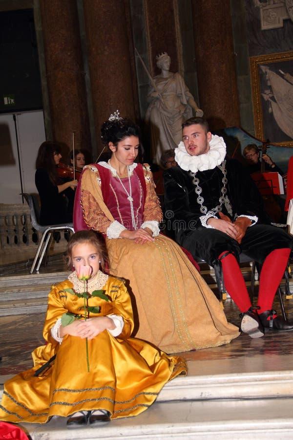 Genoa Italy - reconstitution historique d'une soirée dansante qui a eu lieu à Gênes en 1648 images stock