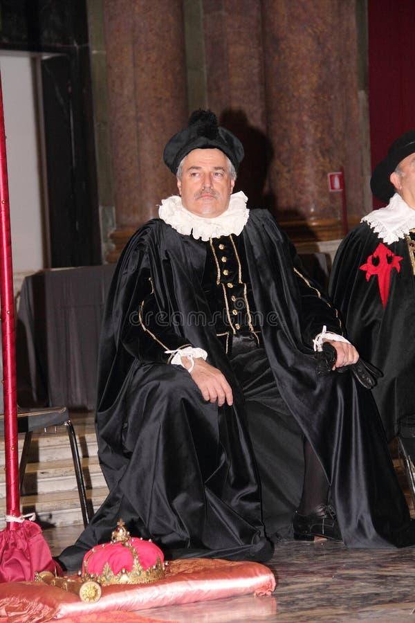 Genoa Italy - reconstitution historique d'une soirée dansante qui a eu lieu à Gênes en 1648 photos stock