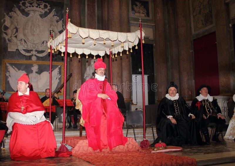 Genoa Italy - reconstitution historique d'une soirée dansante qui a eu lieu à Gênes en 1648 photographie stock