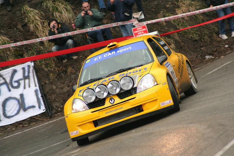 Genoa Italy - A Renaultb Clio racing car during the first time trial of the 24th Rally Della Lanterna. Genoa Italy - A Renault Clio racing car during the first royalty free stock photos