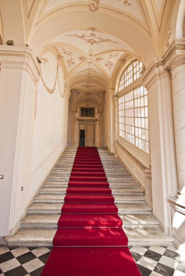 Genoa, Italy - Royal Palace, entrance hall, staircase. Royal Palace (Palazzo Reale or Palazzo Stefano Balbi) in Genoa, Italy, interior flight of stairs. The royalty free stock photography