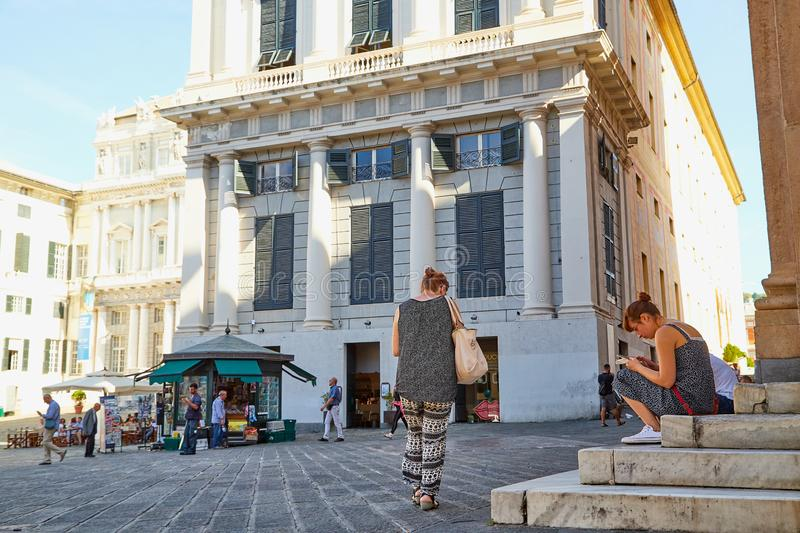 Genoa, Italy - September 24, 2018: Fountain on the square in the old part of the city. Y Genoa in a good day royalty free stock image