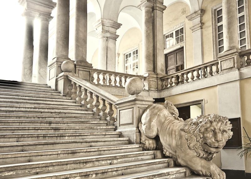 Genoa, Italy - University of Genoa main staircase decorated with stock photography