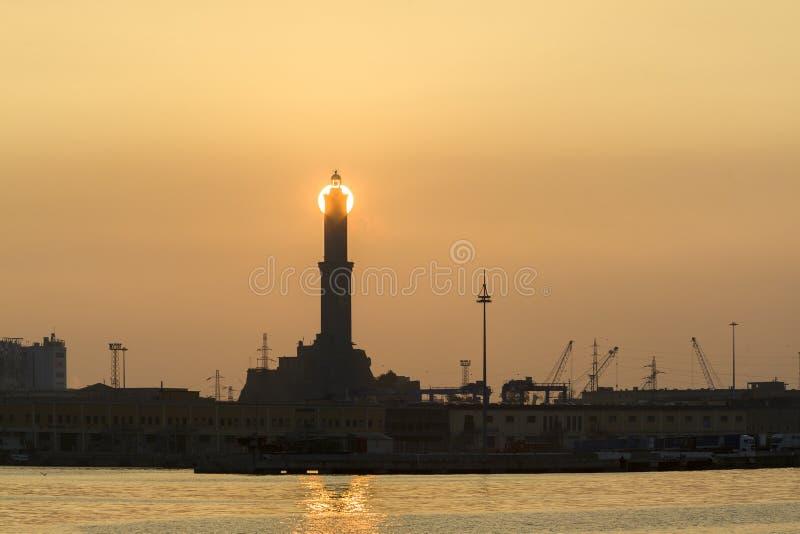 Genoa lantern view at sunset stock image