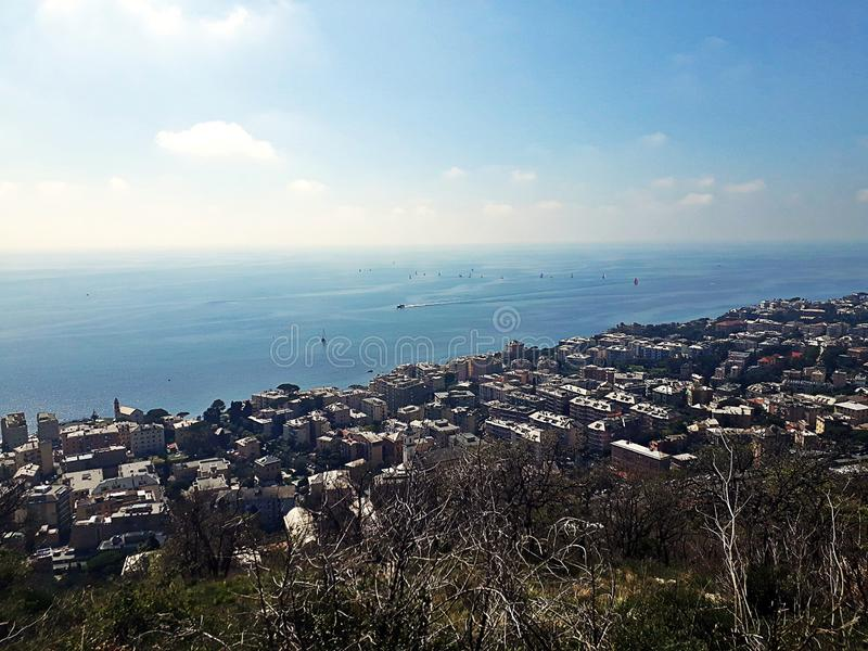 Landscape from the bunkers. Genoa, Moro Mountain. Landscape from the bunkers, homes and blue sea and sky royalty free stock image