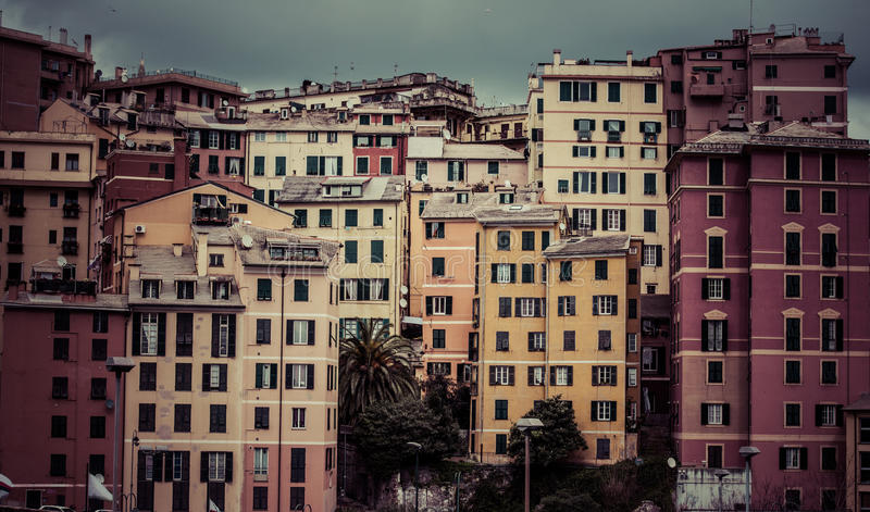 Genoa. Old buildings in Genoa, Italy. Toned picture stock image