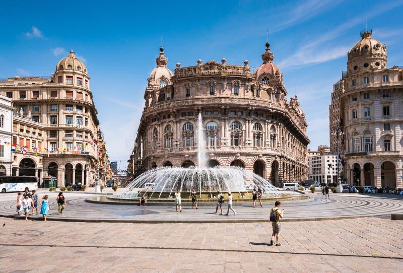 Genoa Piazza Raffaele de Ferrari, il centro urbano Regione Liguria, Italia, europa fotografia stock