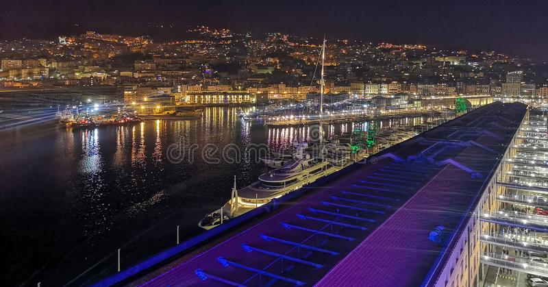 Genoa, Porto Anctico at night stock photos