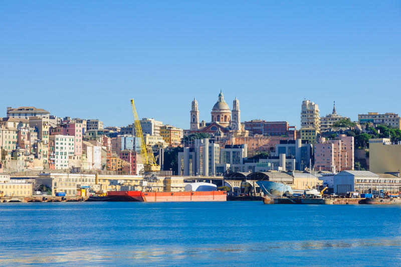 Genoa from the sea. View of the port and the city, in Genoa, Liguria, Italy royalty free stock photography