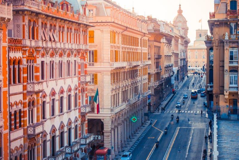 Genoa. Via XX Settembre in Genoa, Liguria region, Italy royalty free stock photo