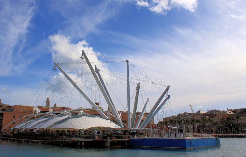 Genoa view. A beautiful view of ancient harbour of Genoa with the Bigo a panoramic lift on the town royalty free stock images