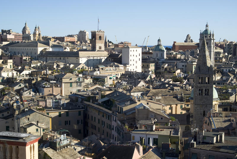 Genoa view. Panoramic view of downtown of Genoa, Italy royalty free stock image