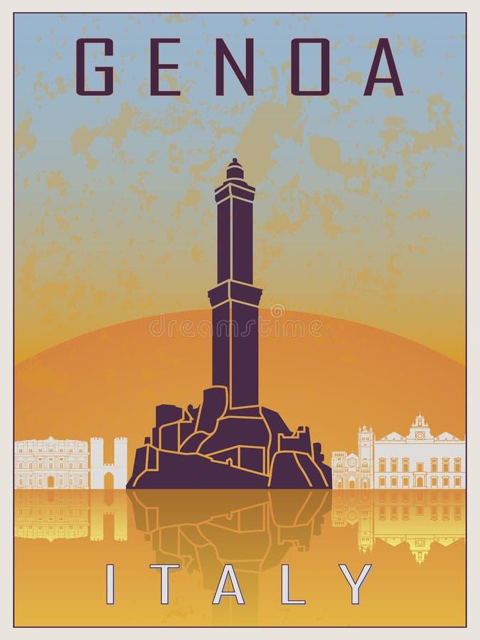 Genoa Vintage Poster stock de ilustración