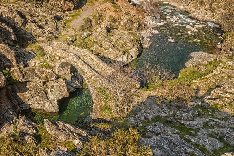 Genoese мост на Asco в Корсике стоковые изображения