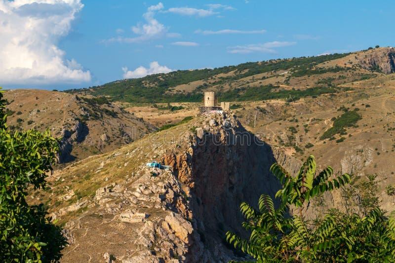 Genoese Festung Cembalo auf dem Berg in Balaklava lizenzfreies stockfoto