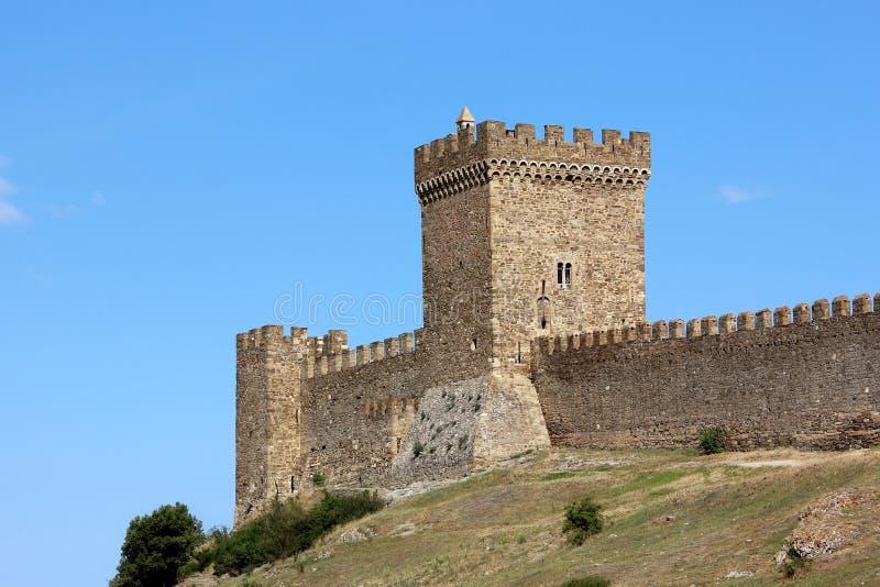 Genoese Festung, das Konsulats- Schloss in Sudak in der Krim lizenzfreie stockfotos