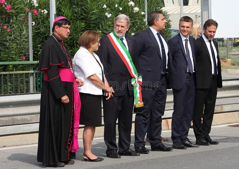 .The Genoese political authorities including the mayor Marco Bucci and the governor of Liguria Giovanni Toti, at the commemoration. Of the victims of the royalty free stock images