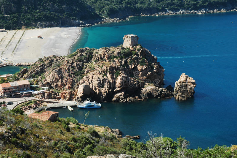 Genoese tower, Corsica royalty free stock images