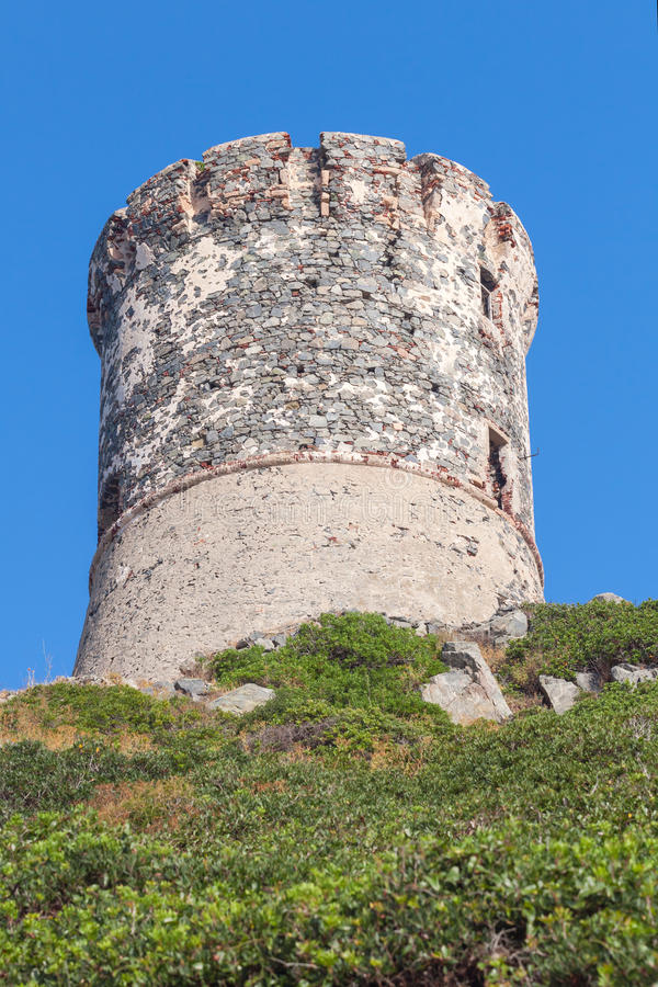 Genoese tower Parata on Sanguinaires, Corsica royalty free stock images