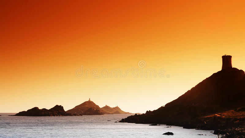 Genoese tower in sanguinary island royalty free stock photos