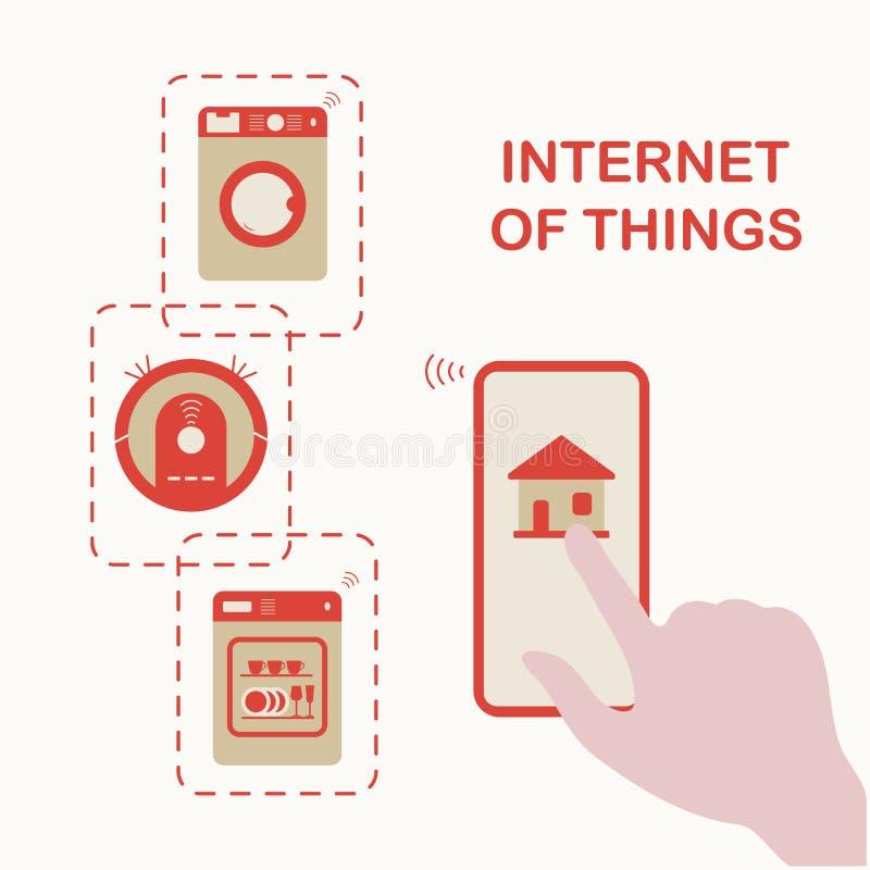 Genom att anv?nda smart teknologi hemma E stock illustrationer