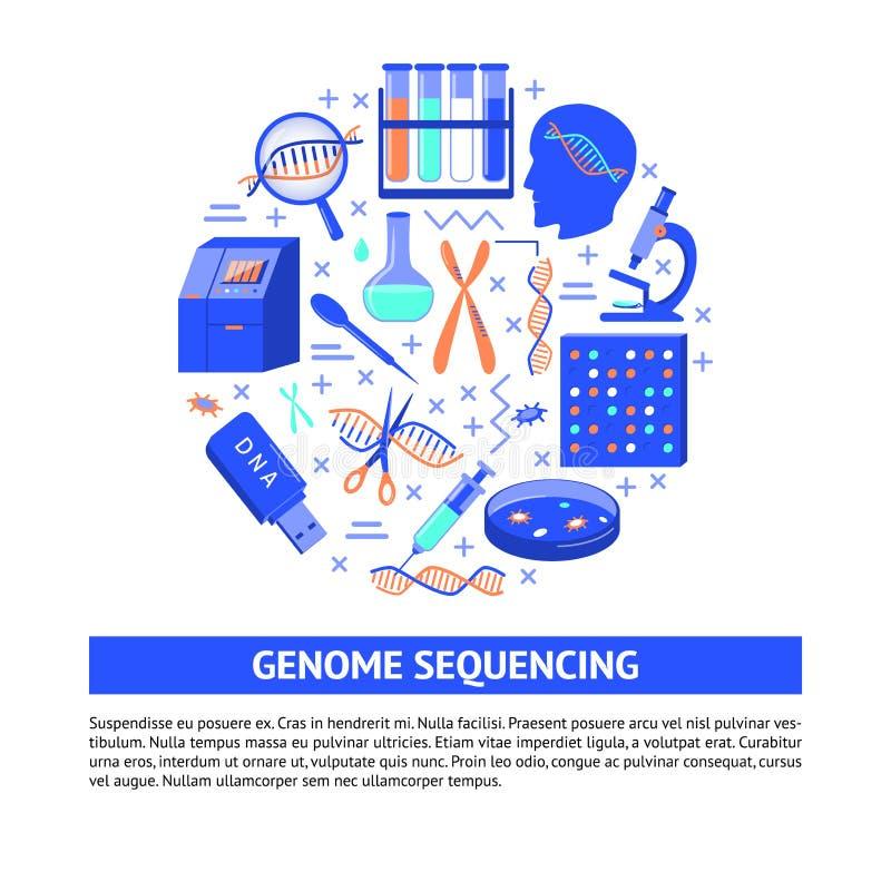 Genom, das ringsum Konzept in der flachen Art der Reihe nach ordnet lizenzfreie abbildung