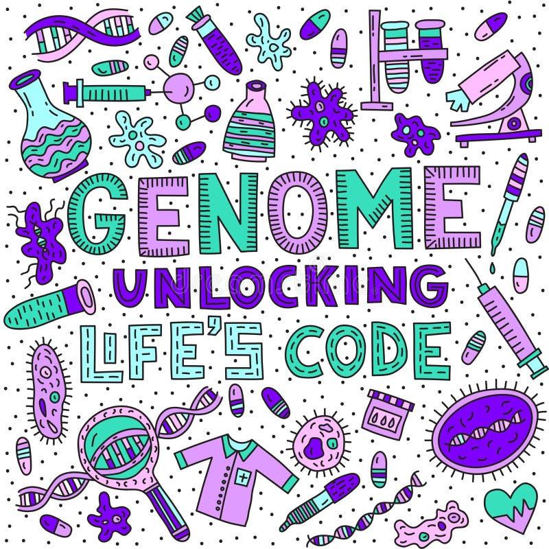 Genoma que desbloquea código del ` s de la vida libre illustration
