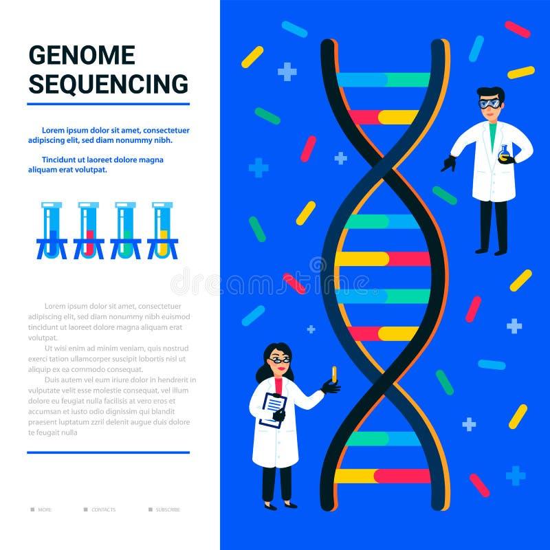 Genoma que ordena concepto Pequeños científicos y hélice de la DNA, del genoma o de la estructura del gen Usable para la bandera  ilustración del vector