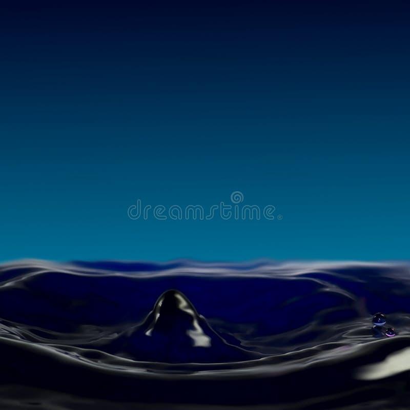 Genomblöt fluiditet, en liten krater, en kolonn och droppar från vattnet arkivbild