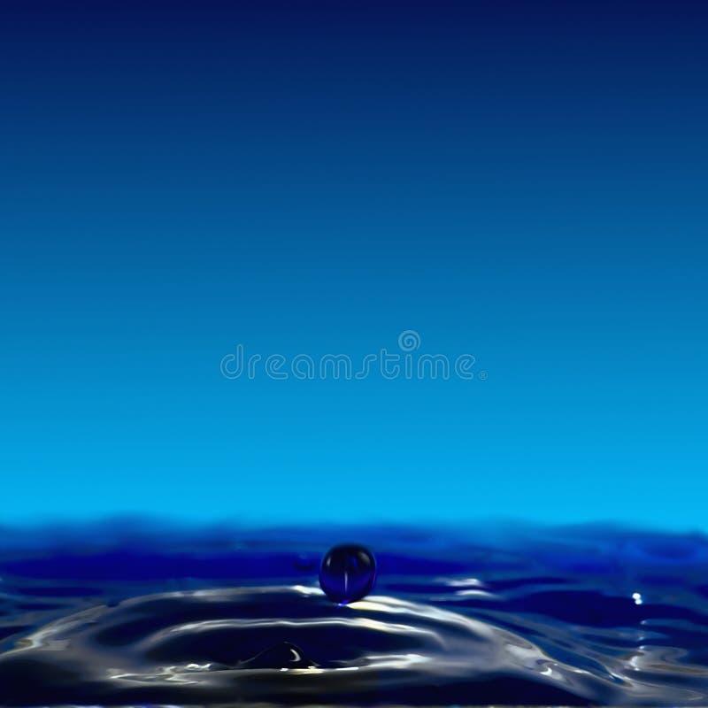 Genomblöt fluiditet, en liten krater och en boll av vatten royaltyfri foto