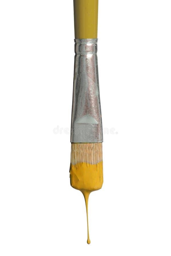 Genomblöt gul målarfärg för gammal Paintbrush royaltyfria bilder