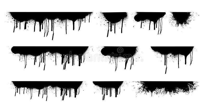 Genomblöt olje- fläck Svarta droppander vektor illustrationer