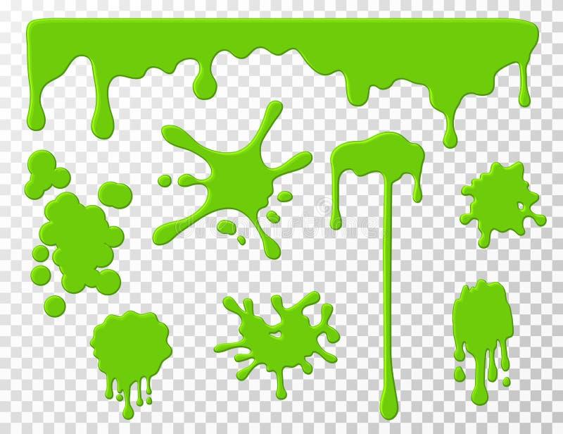 Genomblöt slam Bläckar plaskar det genomblöta vätskesnoret ner för den gröna smeten, och Uppsättning för vektor för tecknad films vektor illustrationer