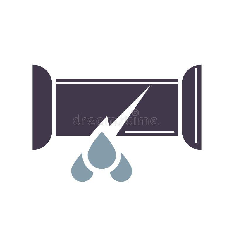 Genomblöt symbol för vattenrör, trumpetavbrott i tecknad filmstil stock illustrationer