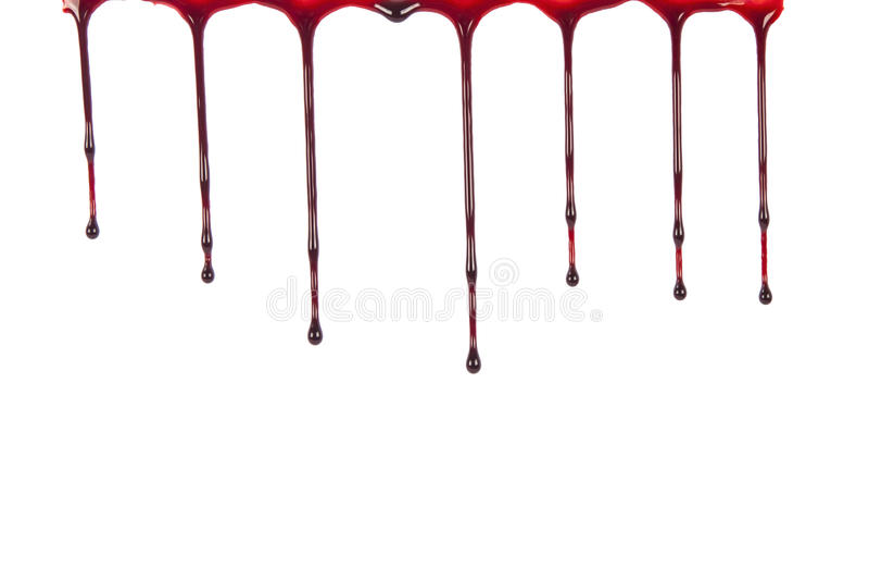 Genomblött blod som isoleras på vit royaltyfria foton