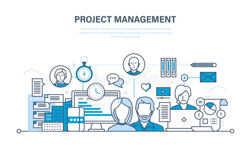 genomförande av idéer, skapelse av den färdiga illustrationen och projekt royaltyfri illustrationer