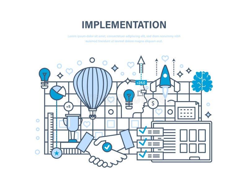 Genomförandebegrepp Förverkligande av idéer, partnerskap och samarbete, vision, skapelse vektor illustrationer